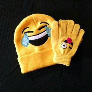 Emoji Beanie Hat and Gloves